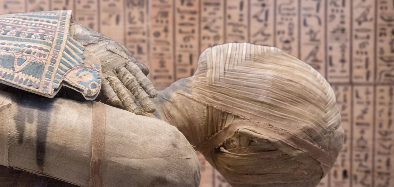 Photos: Egyptian mummy close up detail with hieroglyphs background - Outlook Traveller