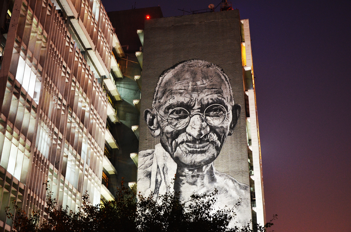 Gandhi on the Delhi Police Headquarter building at ITO