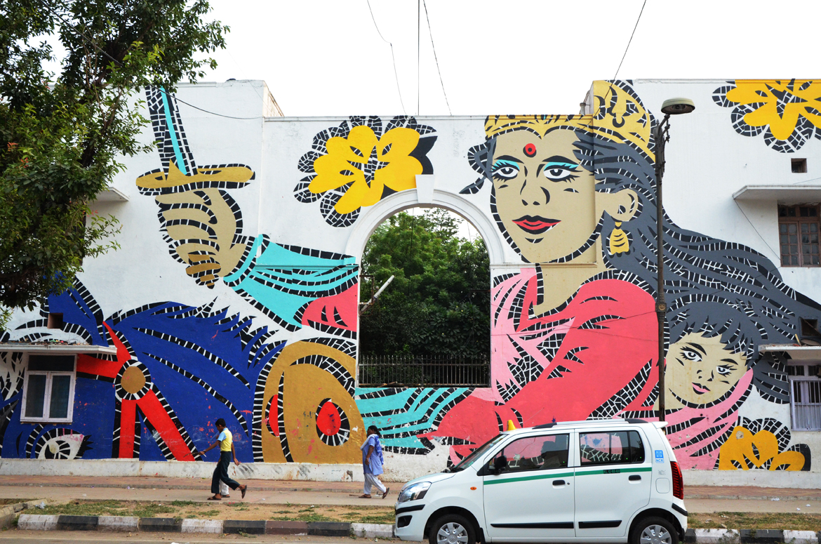 A mural of Rani of Jhansi at Lodi Colony by Lady Aiko from Japan