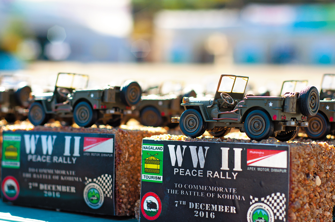 Miniature Willys jeeps serve as trophies for the WWII Peace Rally