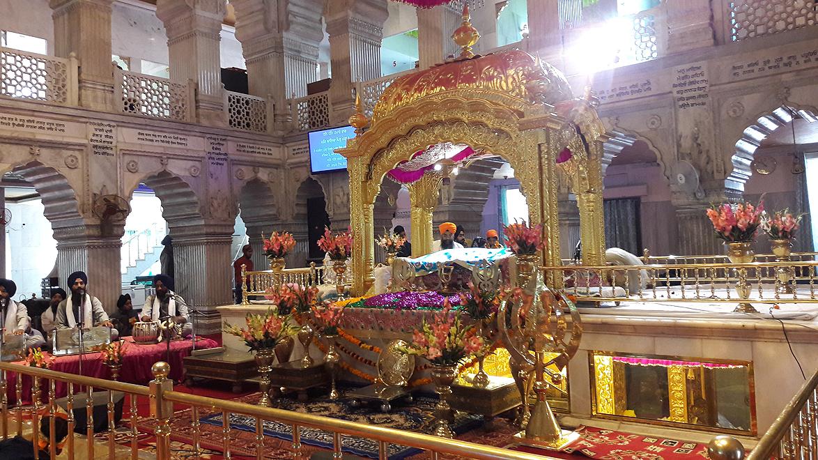The inner sanctum of the Gurdwara Sis Ganj Sahib, one of the most important gurudwaras in Delhi, that commemorates the martyrdom site of the ninth Sikh Guru, Guru Tegh Bahadur