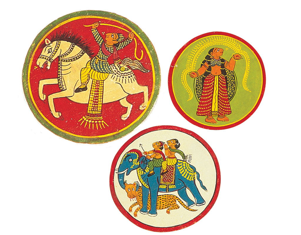 ҎaqshҠwas a Bishnupur ganjifa variation played with 48 cards. The raja (king card) is recognised by being depicted on an elephant and the pradhan (minister card) on a horse. At the bottom, the card contains a girl or ҰoriҬ who denotes the үneҮ