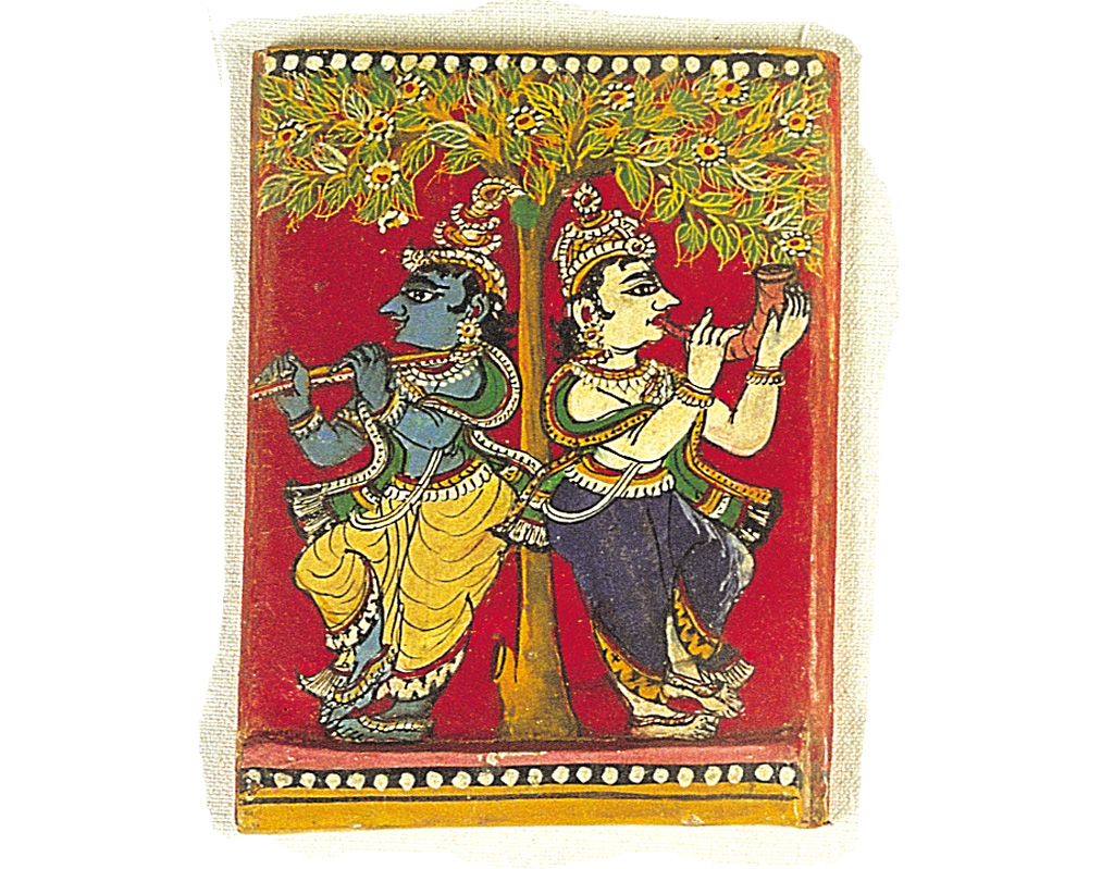 The embellishment of boxes in which cards are kept is a long-standing tradition. This beautifully painted image of Krishna and Balaram is from the lid of a ganjifa box, painted by ganjifa cards artist Appana Mahapatro of Chikiti, Odisha. Odisha is the only state where the game is still played.