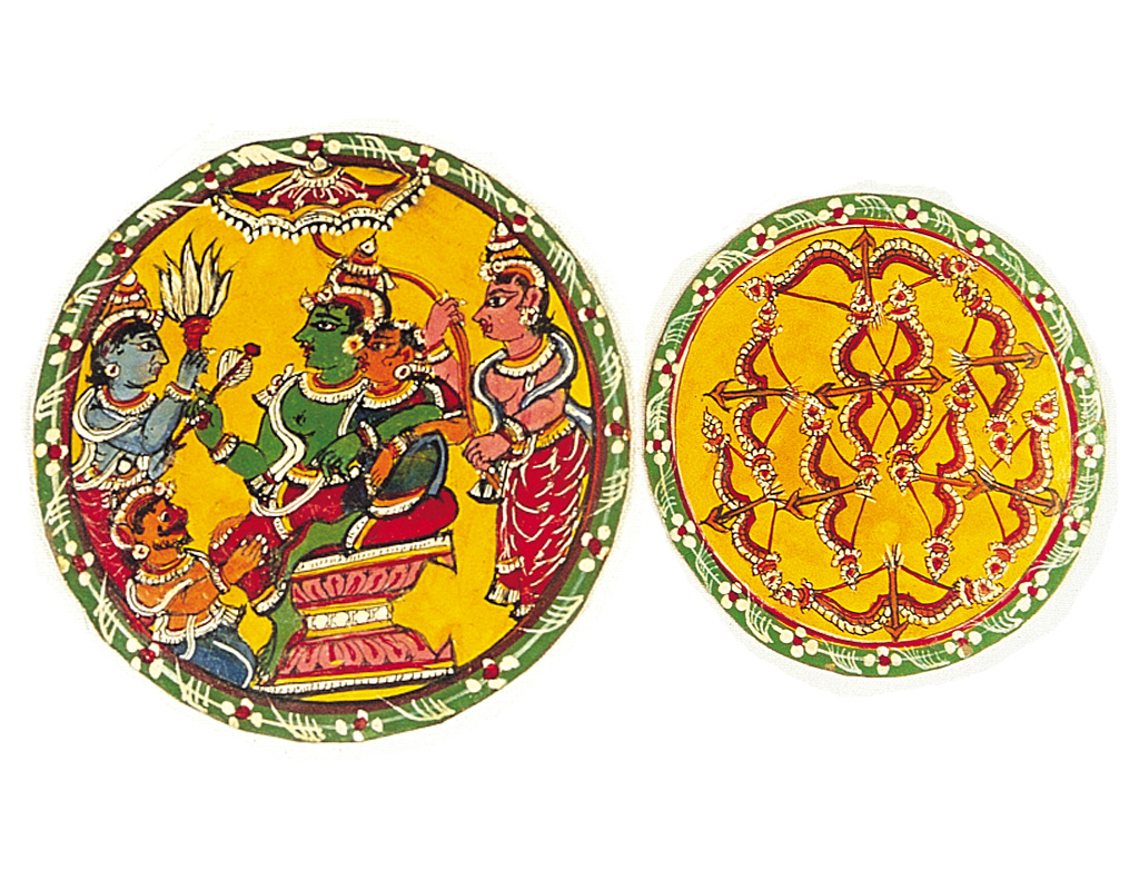 In this set of Ramayana-based cards, the raja cards are recognised by the fact that they always depict Rama, Lakshman, Sita and Hanuman as well as an attendant. The next card is the ѱ0Ҡof the arrow suit.