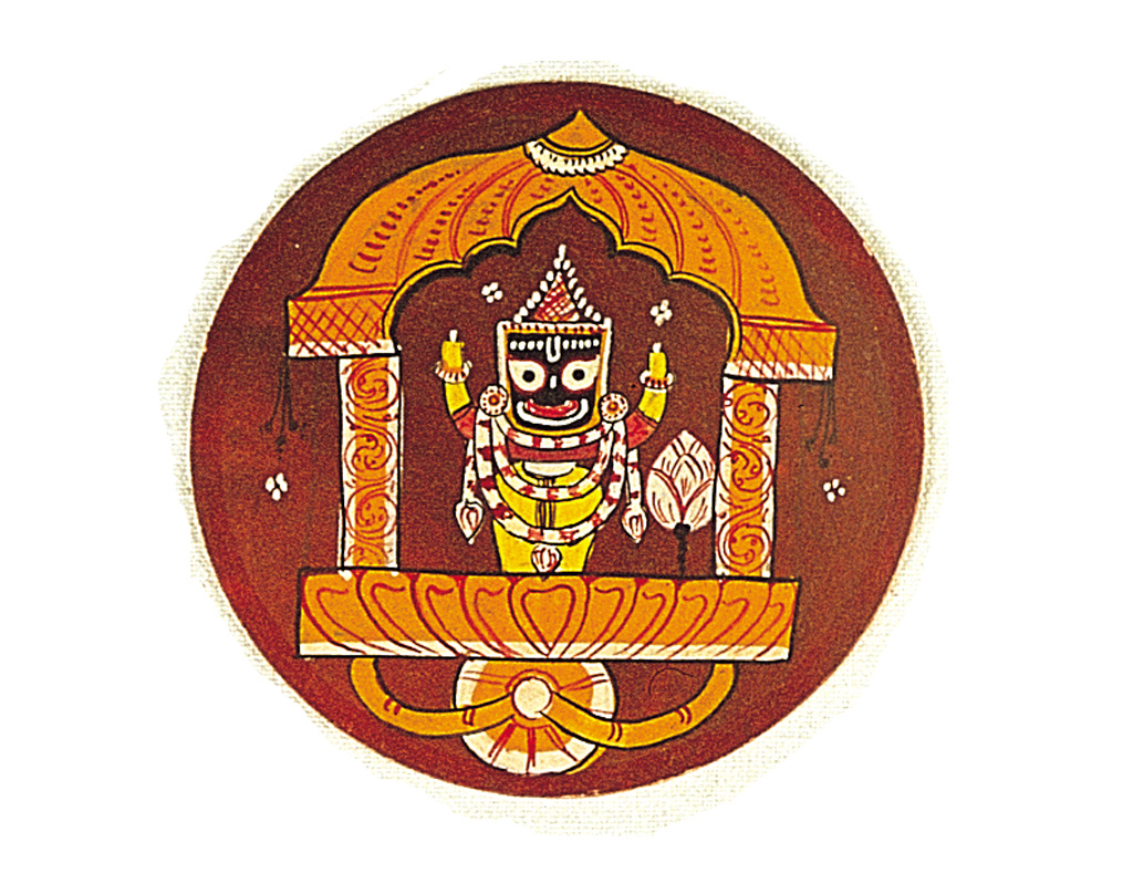 Part of a 144-card version from Puri in Odisha, this is the raja card, showing Jagannatha in a palki. Raja cards are often depicted sitting in a palki.