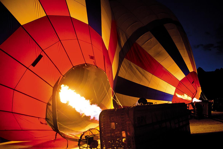 A hot air balloon taking shape