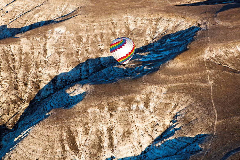 A bird's eye view of the lunar landscape of Cappadocia