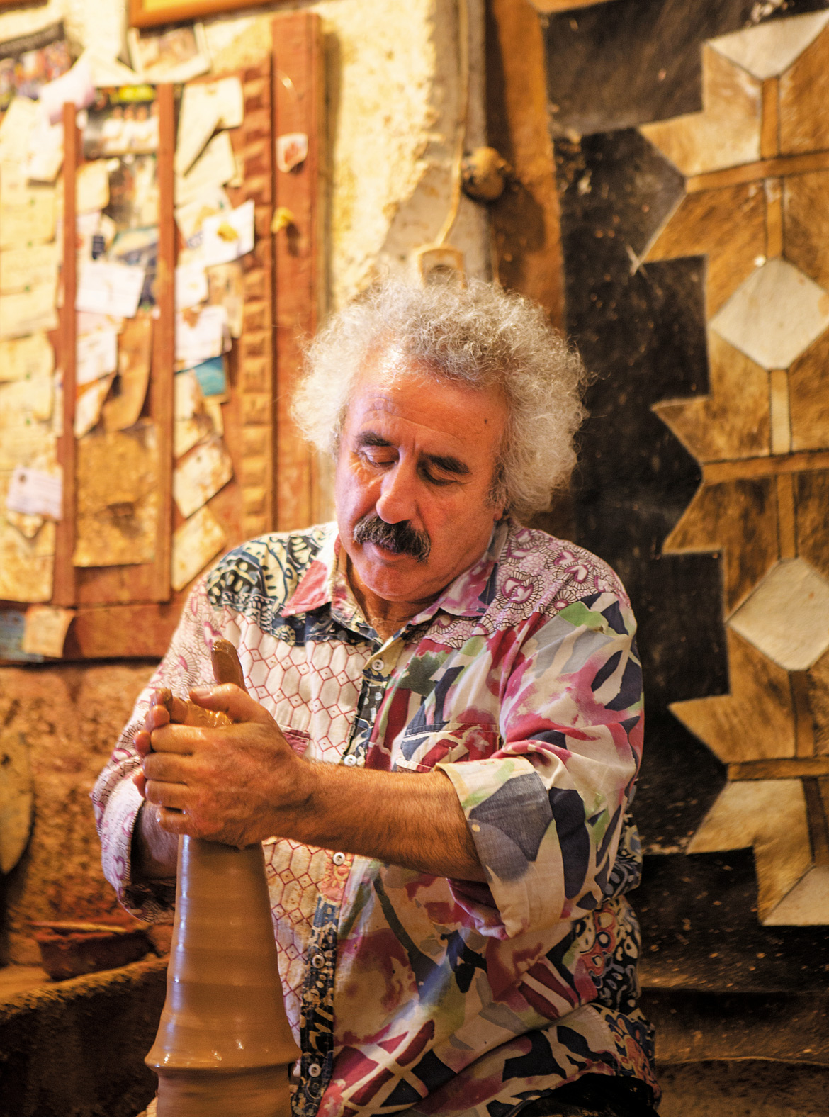 Turkish potter, Chez Galip at his workshop-cum-gallery in the town of Avanos, known for its high quality earthenware since 3000 BC