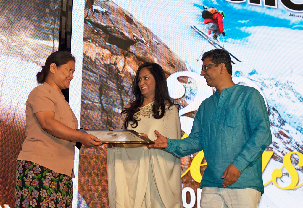 S. R. Marak, Joint Resident Commissioner, Government of Meghalaya, receives the Jury award for Best Adventure Tourism Destination for Meghalaya