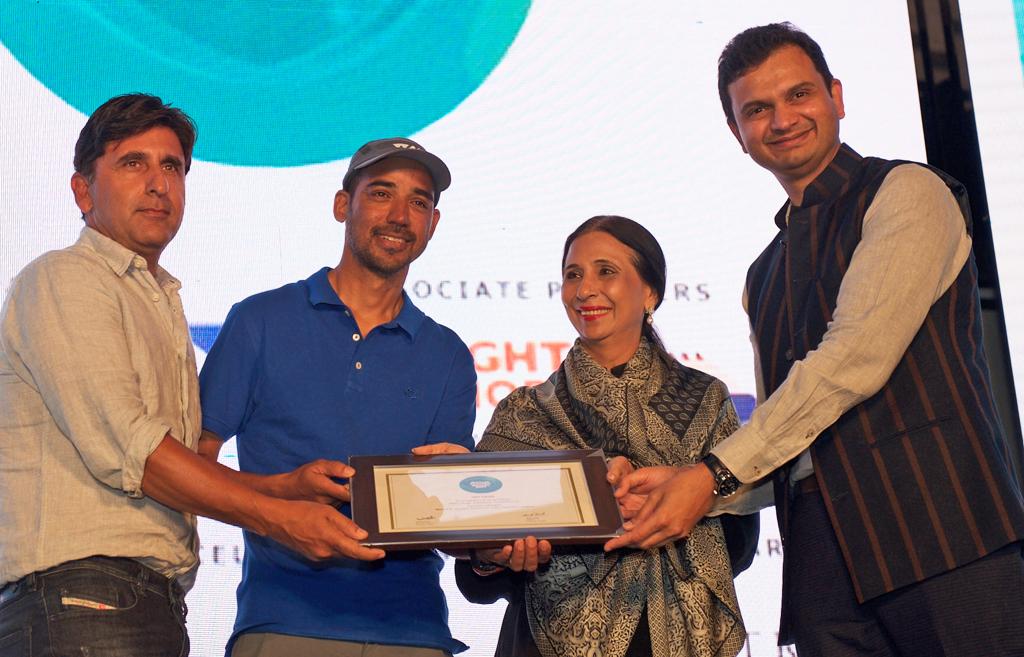 Avilash Bisht and Sanjeev Ganju, Directors, receive the Jury award for Best Adventure Tour Operator for White Magic Adventure Travel