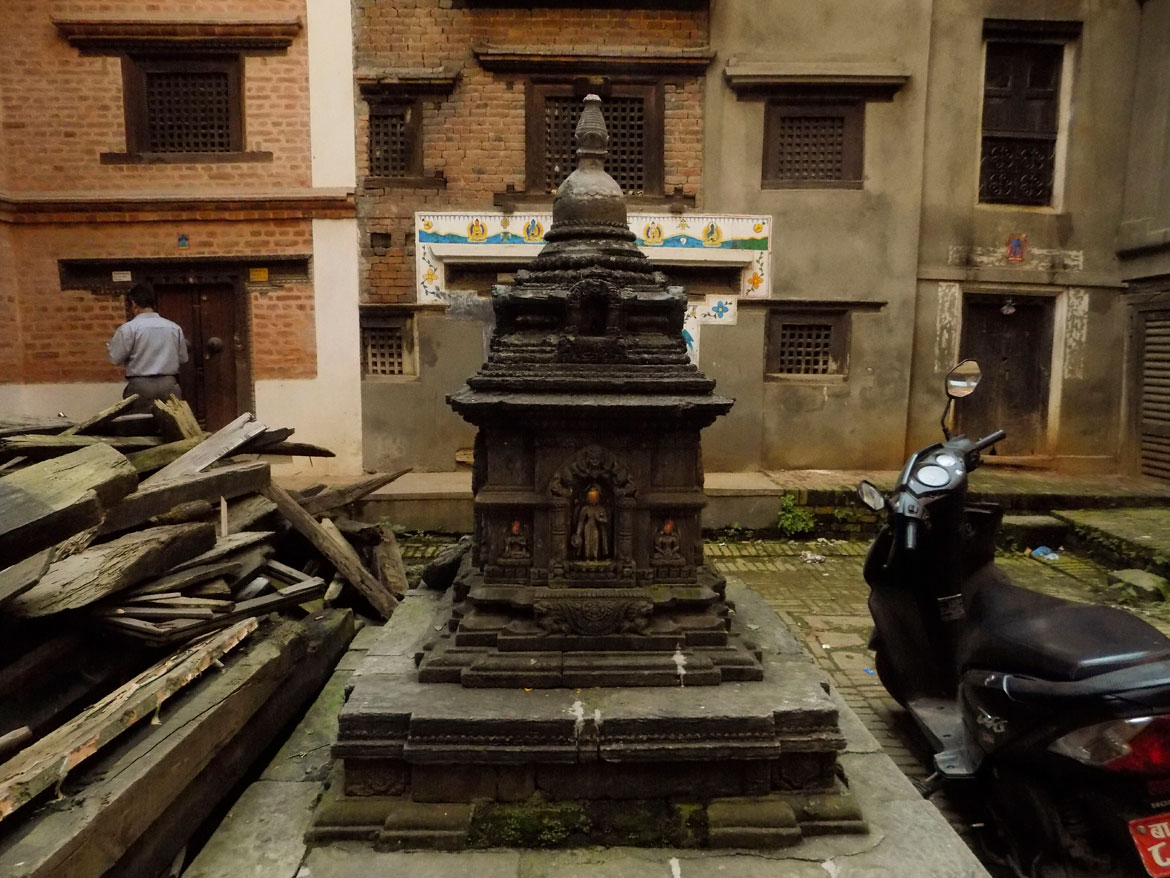 Stupas or chaityas come in many sizes and designs in Patan. This one watches over a courtyard that was affected by the 2015 earthquake