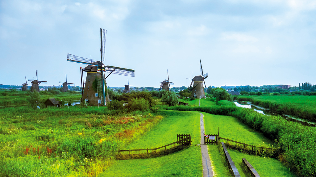 Windmill network at Kinderdijk-Elshout, Netherlands. This functional set of 19 windmills was commissioned in the 18th century.