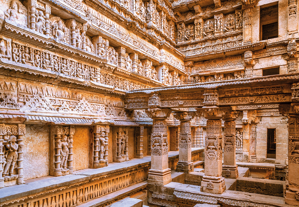 Exquisite carvings at Rani Ki Vav, Patan, India. This stepwell, built in the 11th century CE, portrays a seven-level inverted temple that pays obeisance to water.