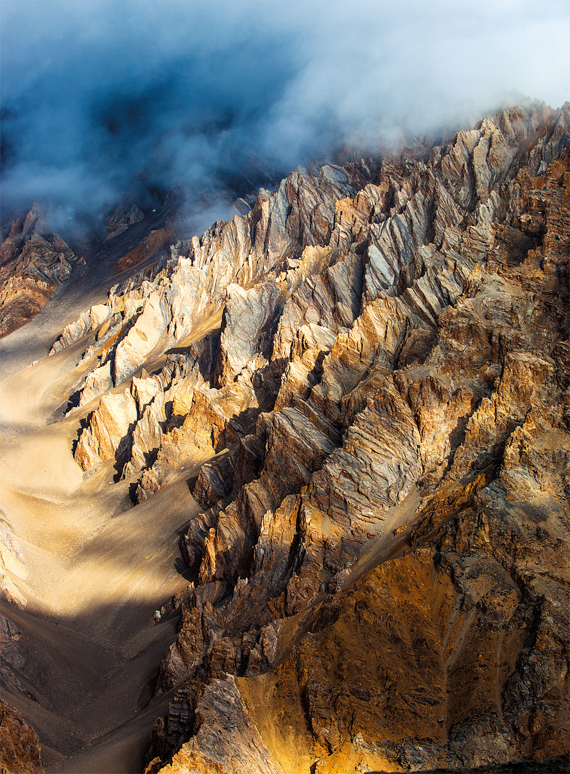 Rugged rock formations lend an otherwordly aura to the region near Sarchu