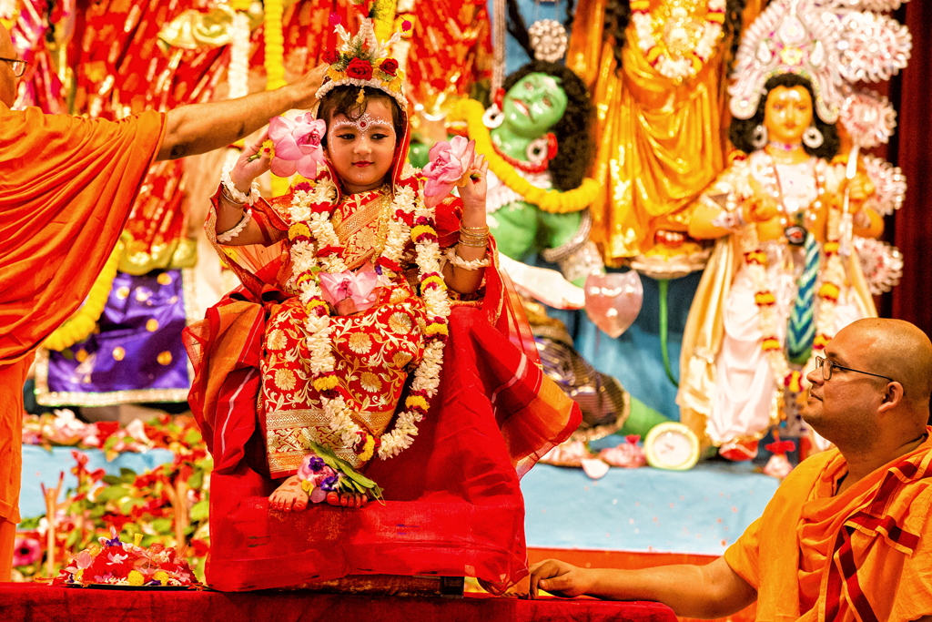 Kumari Pujo at Belur Math is a massive crowd puller. A young Kumari is decked in finery and is worshipped by priests just as they would to Maa Durga on Mahashtami