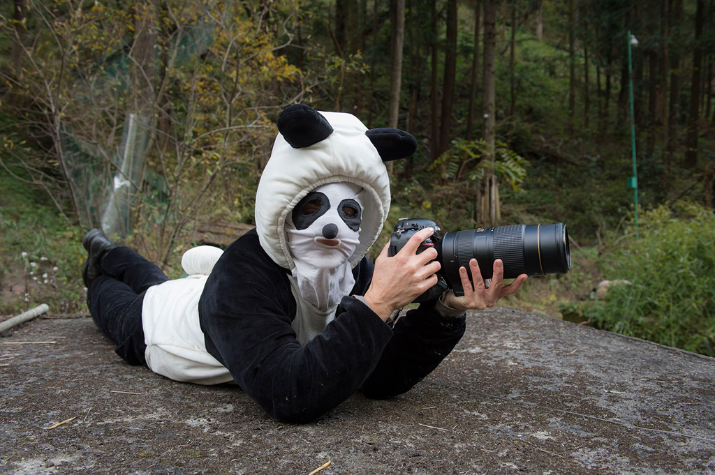 Ami Vitale at work! SheÓ³ dressed as a panda to be able to take photographs of the magnificent creatures from close quarters at the Wolong Nature Reserve managed by the China Conservation and Research Centre for the Giant Panda in Sichuan Province.