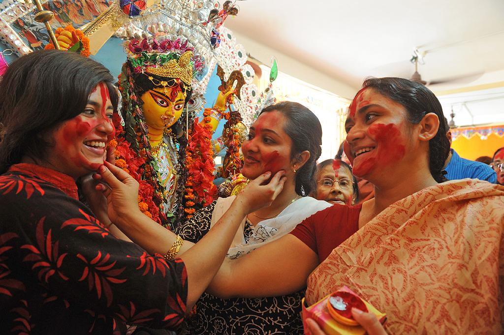 Sindoor Khela is held on Mahadashami when it's time to bid adieu to Maa