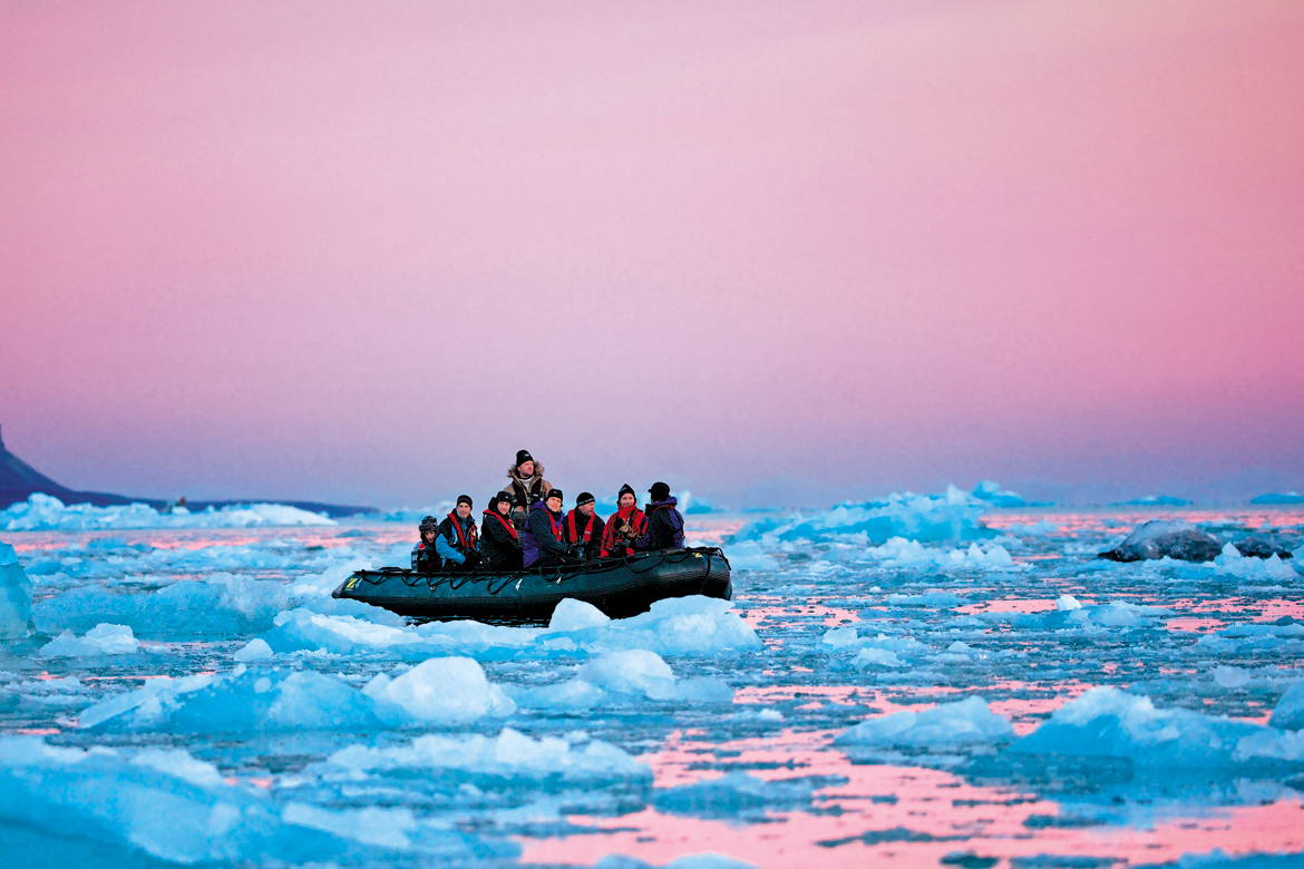 Inflatable boats called zodiacs are used to get closer to the wildlife
