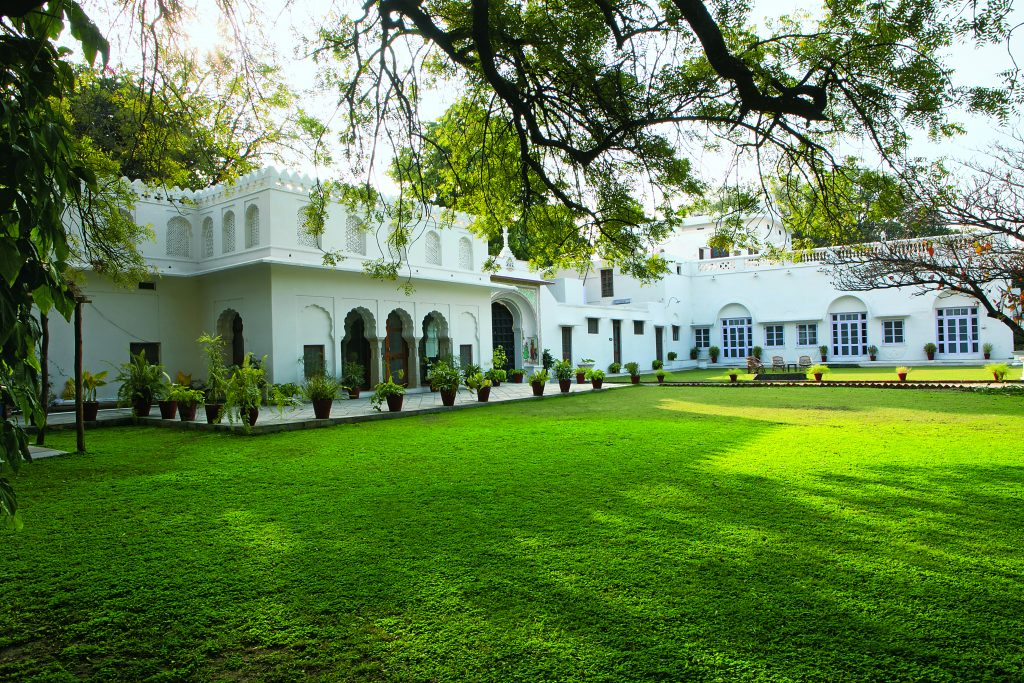 The opulent gardens of Shahpura Bagh are filled with birdsong and offer a refreshing spot for outdoor dining