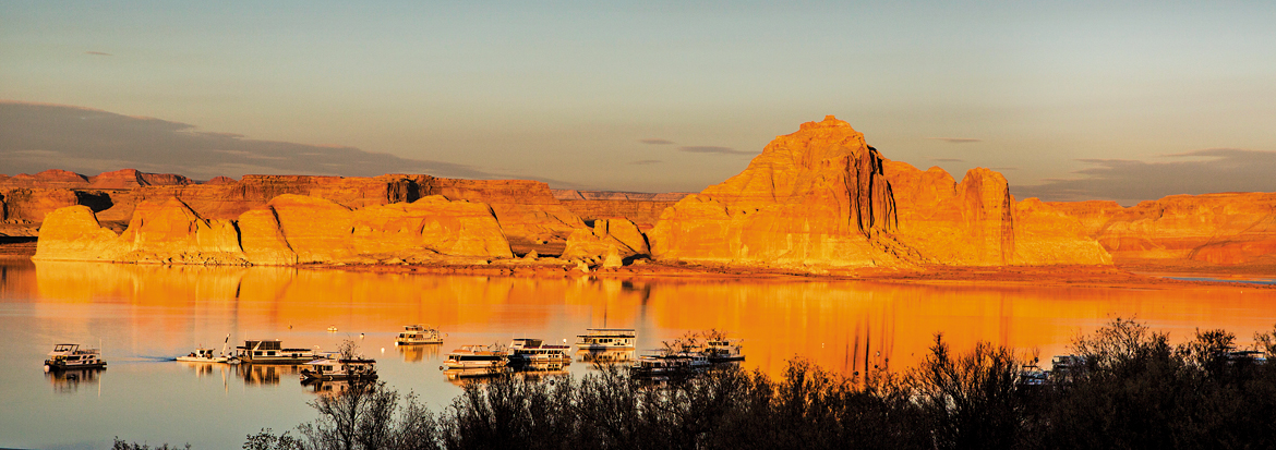 The Wahweap marina on the serene Lake Powell in Page, Arizona