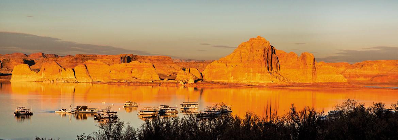 The Wahweap marina on the serene Lake Powell in Page, Arizona