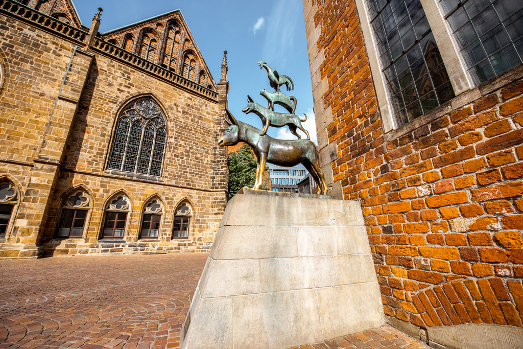 A bronze statue by Gerhard Marcks depicting the Bremen Town Musicians located in Bremen, Germany