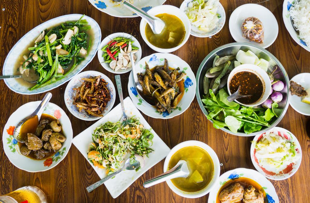 A platter of Burmese food