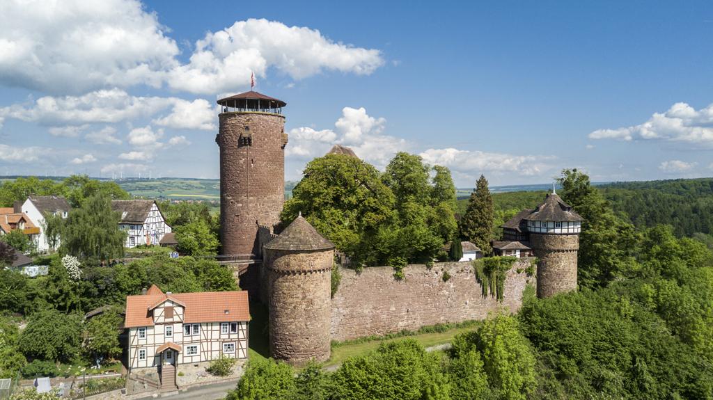Aerial view of castle Trendelburg in Germany