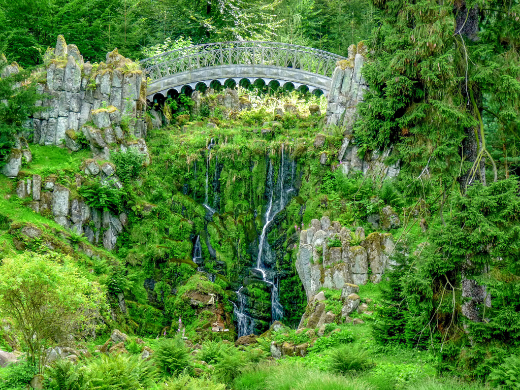 Devil´s bridge in the forest in the park in Kassel, Wilhlemshoehe, Germany