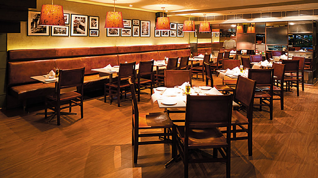 Interiors of Diva Italian restaurant in Delhi