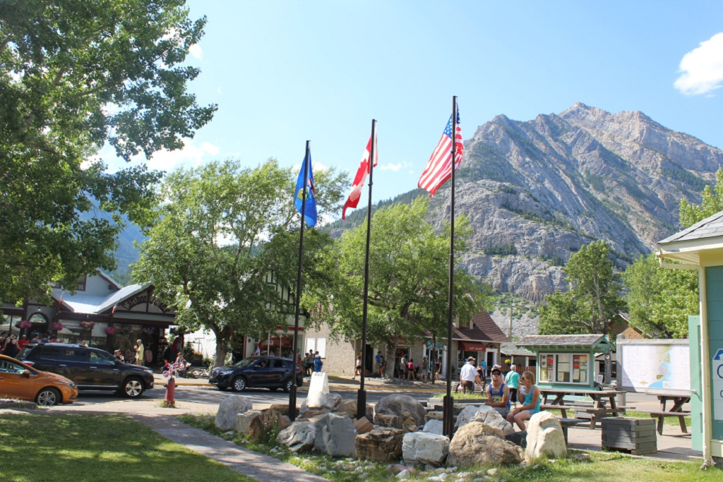 Flags of US and Canada in Waterton Park