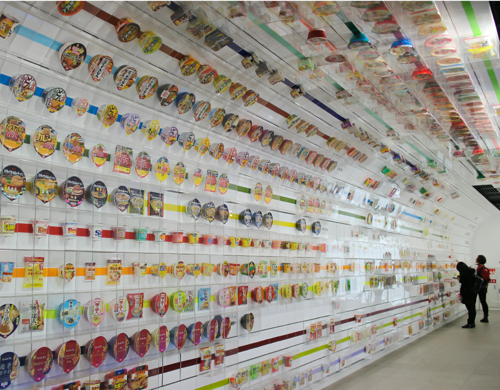 The tunnel of instant noodles packages at the museum