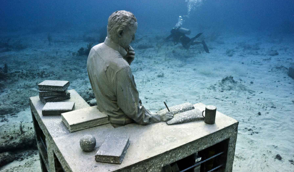 A sculpture at the Cancun Underwater Museum of Art