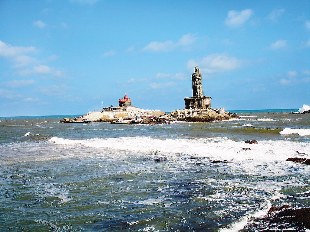 Vivekananda Rock Memorial and statue of poet Thiruvalluvar