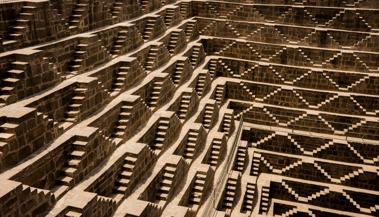 The innumerable and complex steps of the ancient stepwell known as Chand Baori