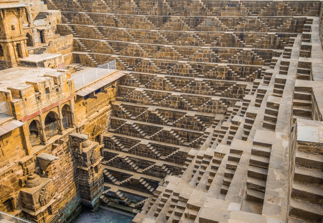 The Chand Baori Stepwell in the Rajasthani village of Abhaneri