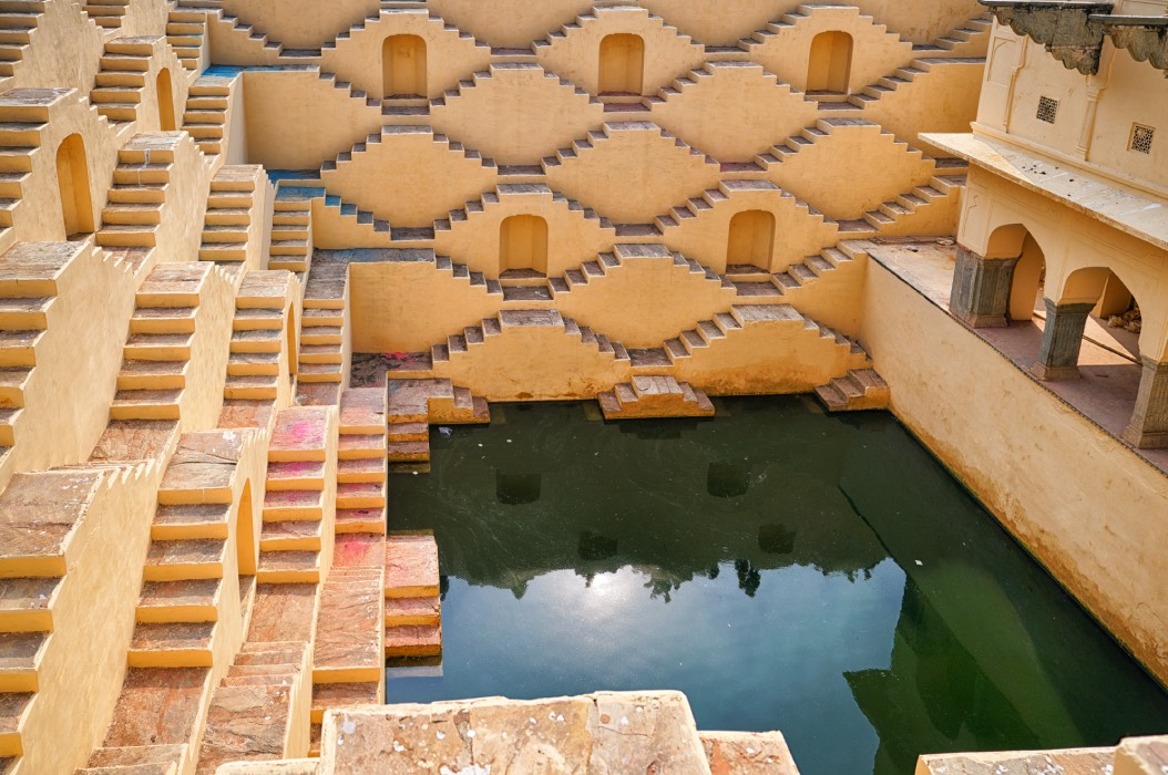 The rainwater catchment known for its picturesque, symmetrical stairways at Panna Meena ka Kund at Rajasthan