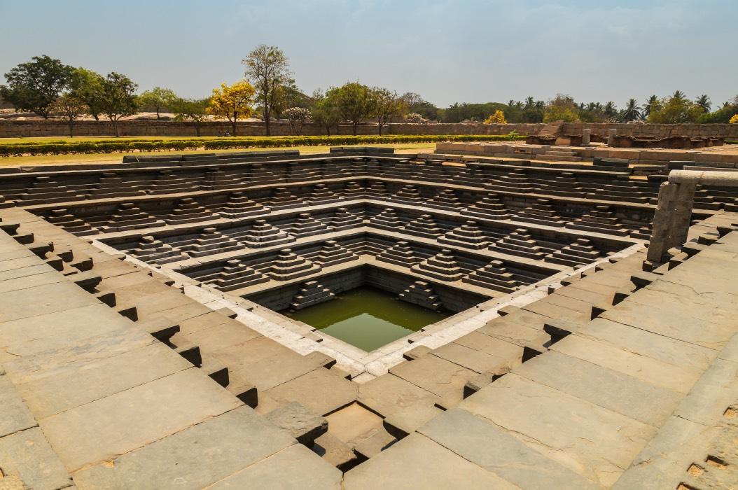 Pushkarani Stepwell, Hampi. Each major Hindu temple complex in Hampi had a large water tank which were called Pushkarani's