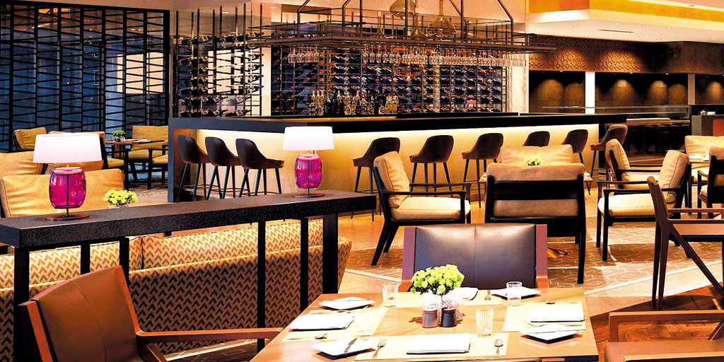 Interiors of 360° restaurant in Delhi