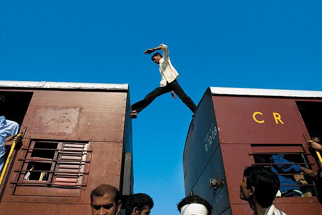 A man hops bogies of the Shakuntala Express