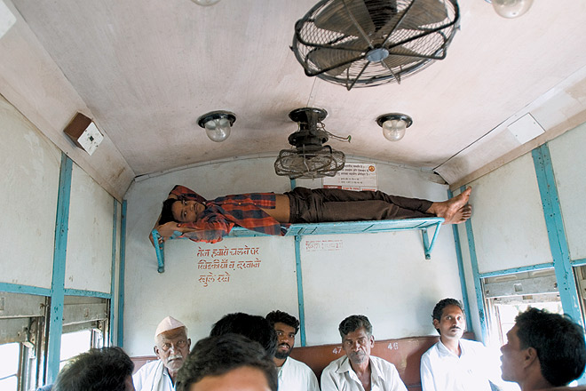 Innovative sleeping arrangement on the Shakuntala Express in Maharashtra