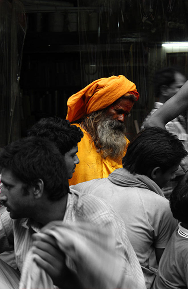 A dash of colour in the sea of humans in Old Delhi