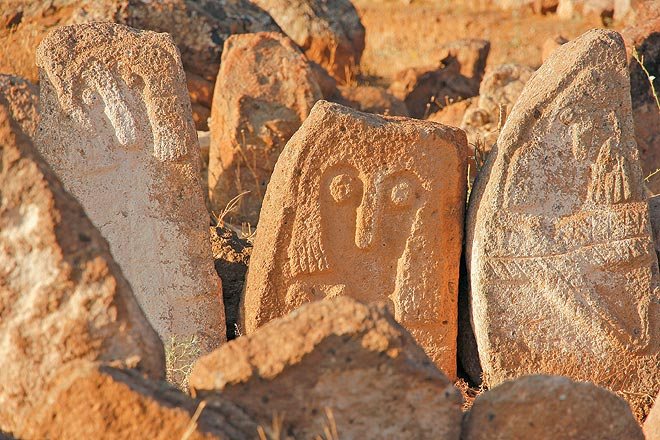 Stone steles at the Shahr Yeri archaeological site near Meshgin Shahr. The site is said to be more than 3,000 years old.