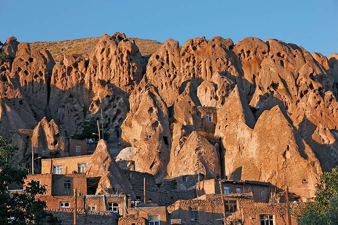 Kandovan, an ancient village, almost a twin to Turkey--s famous Cappadocia, with its cave-like homes that have been carved into cone-shaped rocks due to volcanic activity