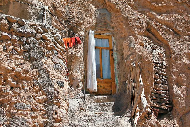 A door carved into the volcanic rock in Kandovan