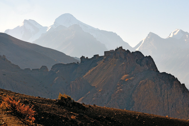 Around the last bend, the Dhangkar monastery reveals itself dramatically, coddled by craggy, snowcapped peaks