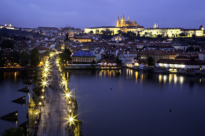 Charles Bridge (Karluv Most in Czech) all lit up in the evening