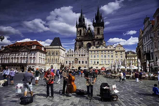 A band of musicians in the Old Town square of Prague