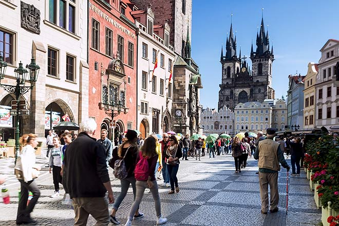 Tourists in the Old Town, near the Astronomical Clock of Prague