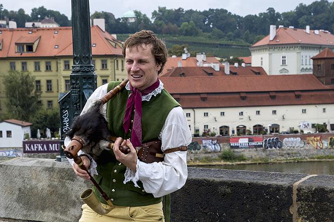 A musician playing a traditional Czech instrument